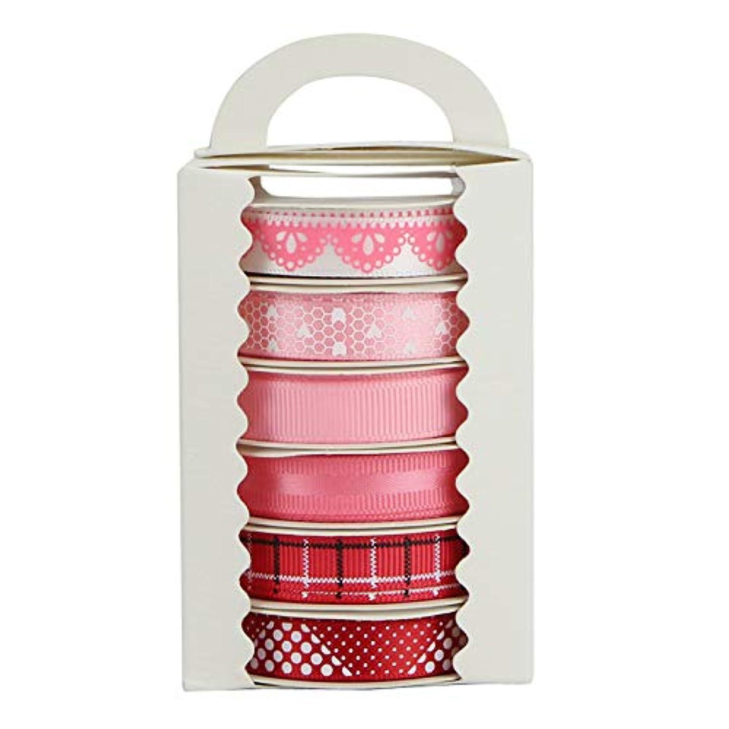 Midi Ribbon Pink Love Day Print Satin Grosgrain Ribbon Assorted, 3/8