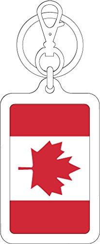 K-SK214 カナダ CANADA 100円国旗ステッカー キーホルダー (WHITE)