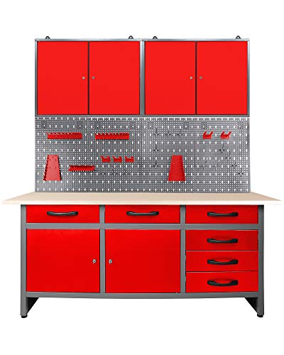 Ondis24 Werkstatteinrichtung rot 160 cm breit, Werkbank, Werkzeugschrank, Werkzeugwand