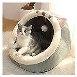 ZNXJC Cama para Perros Y Gatos Cama para Gatos De Felpa Redonda, Interior Cesta para Mascotas Cesta para Gatos Pequeños Tienda para Perros Cómodas Camas Cueva (Color : Gray, Size : 42x40x32cm)