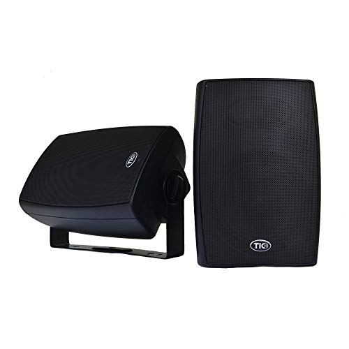 TIC ASP120-B 6.5' Weather-Resistant Outdoor Patio Speakers with 70v Switch (Pair) - Black
