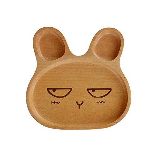 LIANGJING Dinner Plates Beech Wooden Childrens Dinner Plate Cute Bunny Plate Lightweight Ideal for Kids Children Toddlers Natural and Healthy