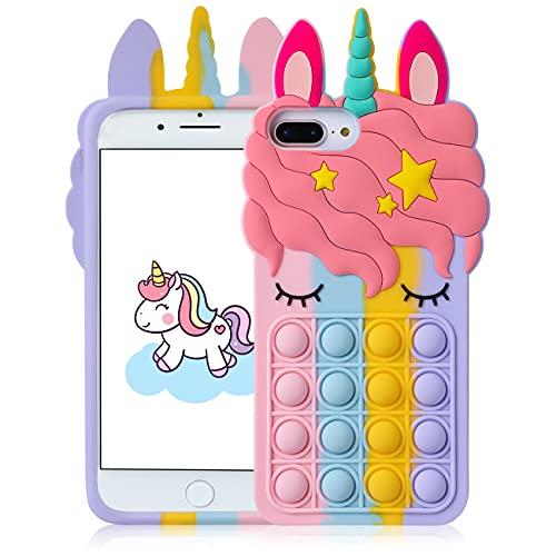 Mulafnxal Custodia per iPhone 6 Plus/6S Plus/7 Plus/8 Plus 5.5',Cartone Animato Carino Moda Morbida,Fidget Antiurto Cover Casi per Bambini Ragazze Ragazzi per iPhone 6/6S/7/8 Plus(Color Unicorn)