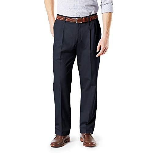 Dockers Men's Big and Tall Classic Fit Signature Khaki Lux Cotton Stretch Pants - Pleated D3, Dockers Navy, 46 30