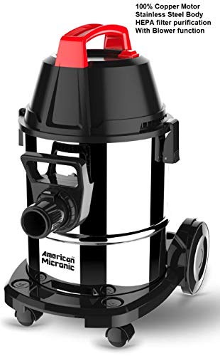 American MICRONIC AMI-VCD21-1600WDx- 21 Litre Stainless Steel Wet & Dry Vacuum Cleaner with Blower, 1600 Watts 100% Copper Motor (Red/Black)