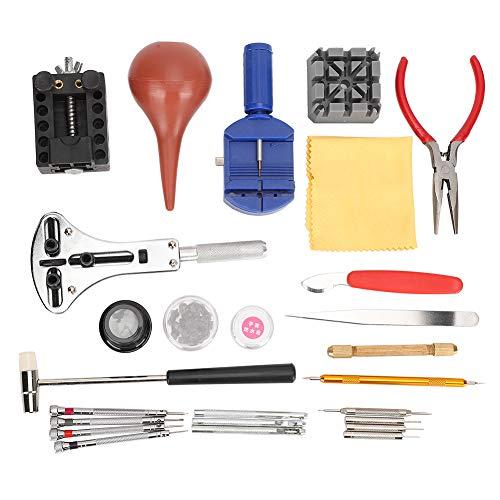 Kit de reparación de relojes, práctico kit de herramientas de reloj de acero de aleación, confiable reparación de relojes trabajadores abiertos para relojeros reloj reemplazo de batería