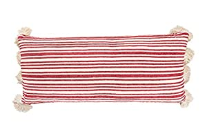 """Made with soft cotton Add fun stripes to the room décor Ideal with other pillows or can be placed by itself Eye-catching pillow is 36""""L x 4""""W x 16""""H"""