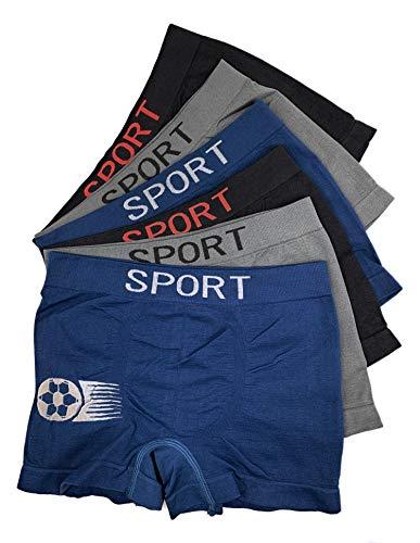 Laake 6 Jungen Unterhosen Kinder Unterwäsche Microfaser Retro-Pants Boxer Shorts Uomo Sportwäsche Gr 104-164 Design: Fussball (Fussball-02, 152-164)