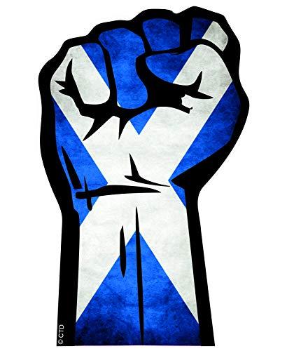 Solidariteit Fist Protest Hand Maart Motief Met Schotland Schotse St Andrews Vlag Vinyl Auto Sticker Decal 132x82mm