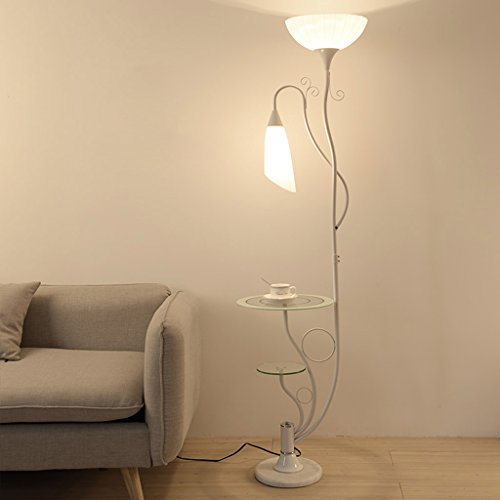 Lamparas de Pie Sala de estar moderna con la lámpara de pie de los estantes de cristal, 2 pantalla de acrílico blanca ligera, lámpara de los soportes de la lámpara de la luz ascendente, H164cm Dormito