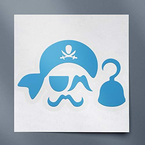 USC DECALS Pirate Photobooth Props Silhouette (Azure Blue) (Set of 2) Premium Waterproof Vinyl Decal Stickers for Laptop Phone Accessory Helmet Car Window Bumper Mug Tuber Cup Door Wall Decoration