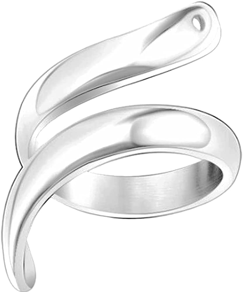 Stainless Steel Snake Wrap Style Statement Promise Cocktail Party Wedding Anniversary Biker Ring