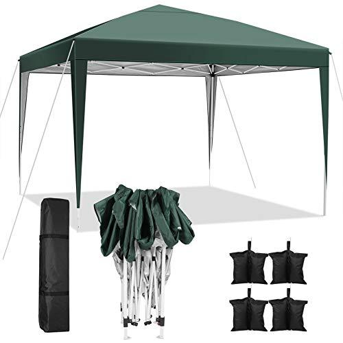 WeSkate Carpa Impermeable Plegable 3x3 Cenadores para Jardin Ajustable en Altura para Camping Playa Terraza Boda con Bolsa