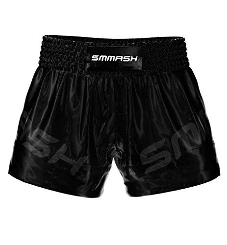 SMMASH Shadow Profesionalmente Pantalones Cortos de Muay Thai Hombre, de Boxeo, Artes Marciales, BJJ, Grappling, Krav Maga, Material Transpirable y Antibacteriano, (S)