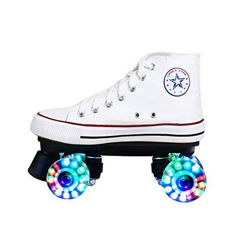 ZXSZX Lienzo Alto Skate Rolling Shoes Street Roller Rollerskates Four Roller Patines LED Classic Scooter, Zapatos Pequeños, Adolescentes Y Adultos,Weiß-EU:36