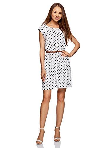 oodji Ultra Damen Ärmelloses Kleid aus Bedruckter Viskose, Weiß, DE 34 / EU 36 / XS