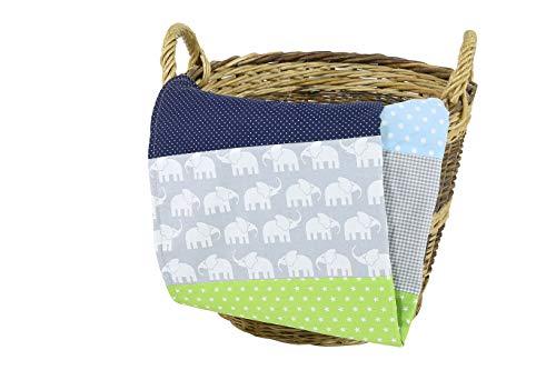 """ULLENBOOM ® Babydecke 70x100 cm """"Elefant Blau Grün"""" (Made in EU) - Baby Kuscheldecke aus ÖkoTex Baumwolle & Fleece, ideal als Kinderwagendecke oder Spieldecke geeignet, Design: Sterne, Patchwork"""
