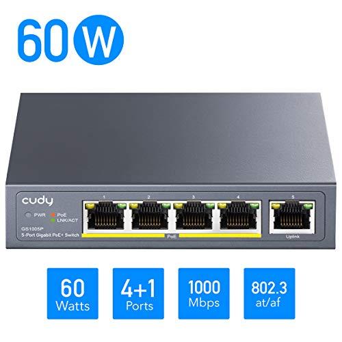 Cudy GS1005P 5-Port Gigabit PoE+ Switch 60W, 4 * 10/100/1000Mbit/s PoE+ Ports, 802.3af / 802.3at, Desktop- und Wandmontage, Plug-and-Play, Metallgehäuse