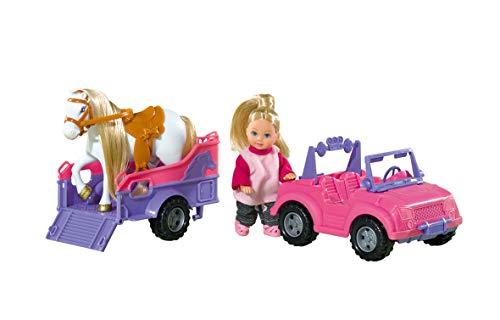 Simba - Evi Love Jeep avec Remorque - Mini Poupée 12cm - 1 Cheval Inclus - 105737460