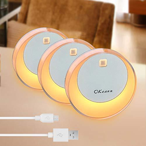 OKeanu LED Nachtlicht mit Bewegungsmelder, USB Aufladbare Nachtlampe LED Lichter, Auto ON/Off mit Lichtsensor,Wand- oder Schrankbeleuchtung, Überall Haftend(3 Pack, Gelb)