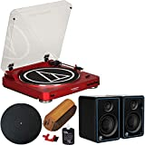 Audio-Technica at LP60RDBT Fully Automatic Bluetooth Wireless Belt-Drive Stereo Turntable Red Bundle with Mackie CR3 3' Multimedia Monitors Pair + Deco Gear Platter Mat + Vinyl Cleaning Kit