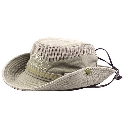 BIGBOBA Sombrero de Pescador Anti-UV algodón Sombrero Redondo Sombrero de montaña Acampar al Aire Libre Senderismo Viajes para Hombres Mujeres (Caqui)