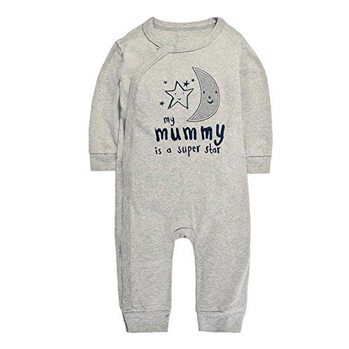 CuteOn Bébé Nouveau-né | Mignon | Coton | Manches longues | Romper Jumpsuit Bodysuit Lune 3 Mois