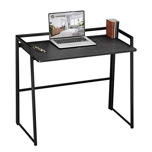 Aingoo Foldable Desk Fold Away Computer Desk No Assembly Collapsible Folding Home Office Desk PC Study Table Laptop Workstation, Black