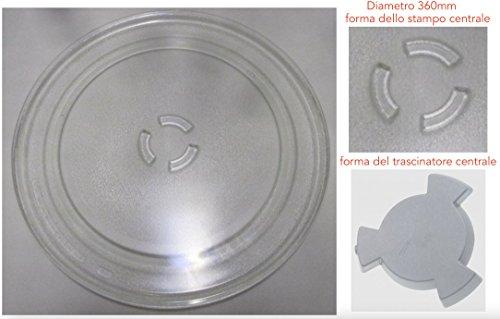 Whirlpool 858747999891 - JT479SL - Originale, Piatto Rotante in Vetro per Forno a Microonde (Diametro 360mm)