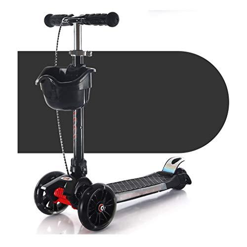 Ligero Vespa de plegamiento multifuncionales Freno de la Rueda Trasera de Las Ruedas traseras Durante 2-12 años - Scooter Plegable con Altura extraíble Ajustable Conducción Suave (Color : Black)