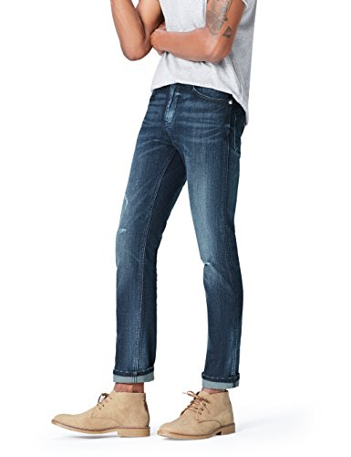 Marchio Amazon - find. Jeans Slim Uomo, Blu (Medium Wash), 32W / 34L, Label: 32W / 34L