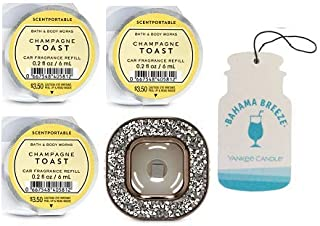 Bath and Body Works Gemstone Vent Clip Car Fragrance Holder and 3 Scentportable Champagne Toast + Paperboard Car Fragrance Bahama Breeze.