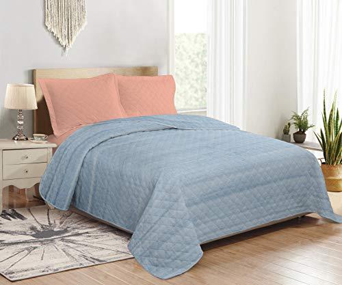 CosiCasa Tagesdecke für Einzelbett, gesteppt, 100 g [160 x 240 cm] Blau   leichte Steppdecke für Doppelbett Frühling Herbst   leichte Decke aus Mikrofaser mit Pfirsichhauteffekt