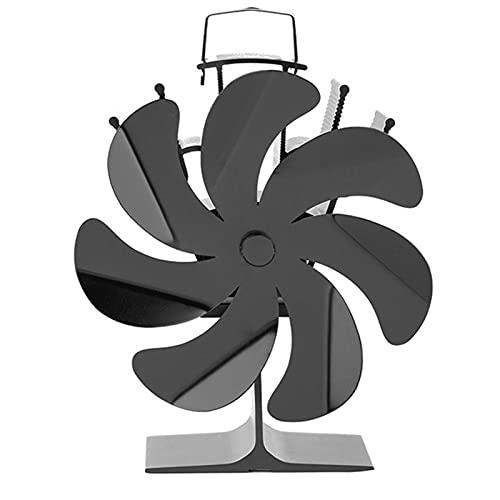 WDBK Ventilador de Chimenea Negro, Ventilador de Estufa de Calor de 7 aspas, Ventilador de Estufa de Madera de circulación Ultra silencioso impulsado por Calor para calefacción del hogar