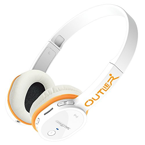 Creative Outlier Wireless Bluetooth On-ear Headphones with Integrated microSD MP3 Player (White)