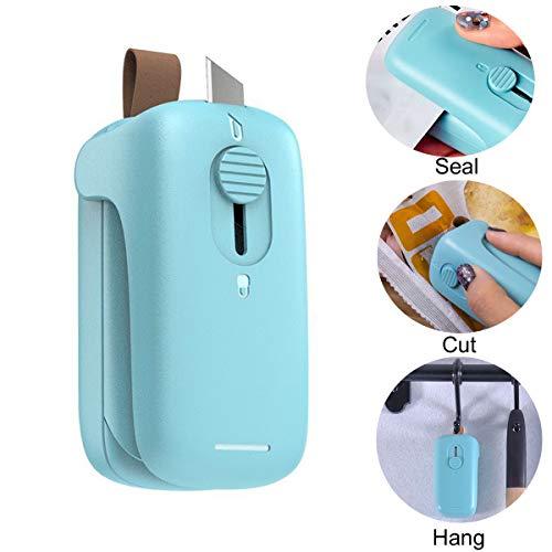 Mini Bag Sealer, 2 in 1 Heat Sealer and Cutter Portable Bag Resealer Handheld Bag Heat Sealers, Quick Seal Machine for Plastic Bags Food Storage Snack Cookies(No Battery)