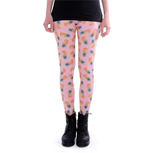cosey - Bedruckte Bunte Leggins (Einheitsgröße) Verschiedene Leggings Designs, Ananas Pink, Einheitsgröße