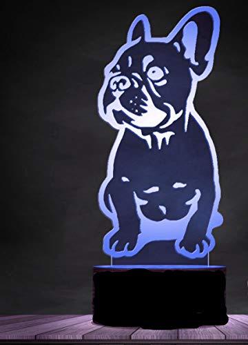 3D französische bulldogge hund Nachtlampe 7 Farben ändern Touch Control LED Schreibtisch Tisch Nachtlicht mit bunten USB Powered für Kinder Kinder Familie Ferienhaus Dekoration Valentinstag Geschenk
