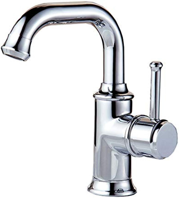 YI KUI Armaturen Drehwasserhahn heien und kalten Waschbecken Waschbecken Bassinhahn Bad Kupfer einzelnes Loch Waschtischarmaturen