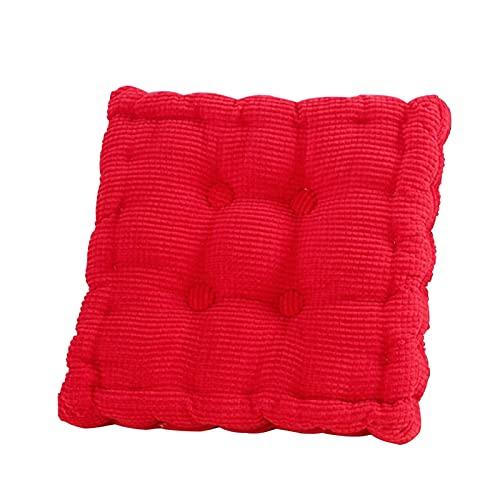 HXYIYG Sittdynor för trädgård, solstol kuddar fåtölj stöd booster fyrkant lätt stigande manchester tyg stol kudde Tatami förtjockad dyna hem kontor (färg: Röd)