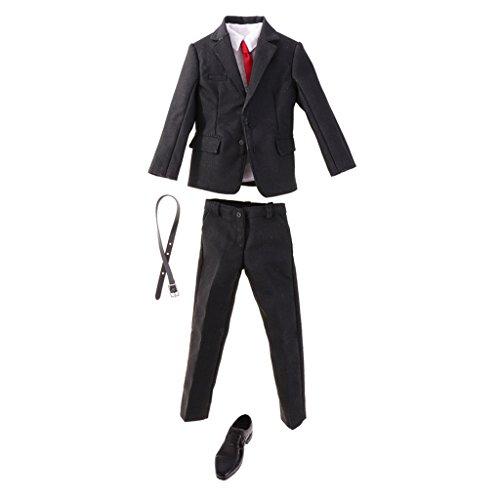F Fityle Ropa, Camisa, Cinturón, Zapatos de Corbata, Procesamiento de Cuero Sólido, Estilo de Moda para 1/6, Tela de de Acción para Hombre Y Mujer