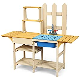 Costzon Kids Kitchen Playset, Wooden Play Kitchen Toy w/ Simulated Faucet, Shelves, Removable Board, Outdoor Pretend Play Kitchen Set for Kids Toddler