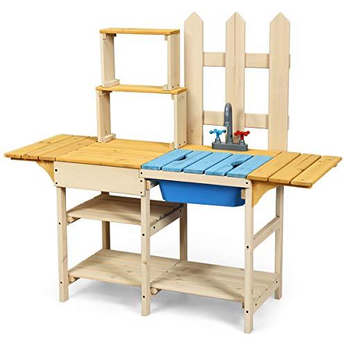 COSTWAY Matschküche mit Wasserhahn, Kinderküche aus Holz, Outdoor Küche, Holzküche, Spielküche, Spielzeugküche für Kinder ab 3 Jahren, 109 x 38 x 100 cm