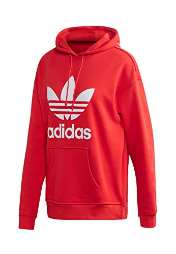 adidas Damen Sweatshirt TRF Hoodie, Lush red/White, 40, FM3298