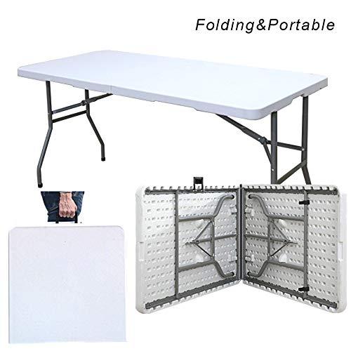 soges Gartentisch Klapptisch Campingtisch Faltbarer Gartentisch Esstisch aus Aluminium Keine Montage und leicht zu tragen,150 * 70CM