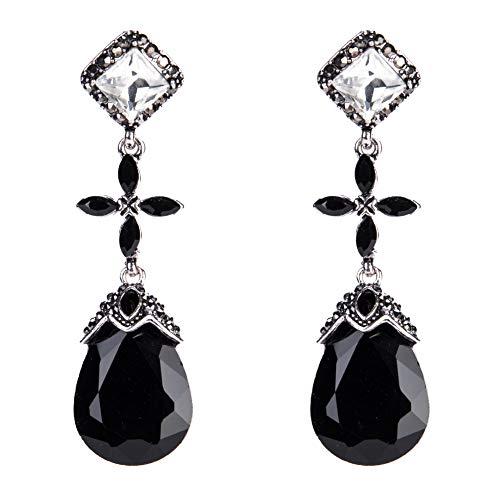 BJINUIY Pendientes de Diamantes de aleación exquisitos, Pendientes Cruzados Femeninos de Borla de Moda, Negro Brillante