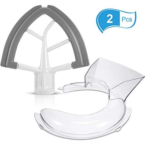 KFE5T Tilt Head 4.5/5 Quart Flex Edge Beater KN1PS Pouring Shield Stand Mixer Replacement for KitchenAid, Total 2 Pieces