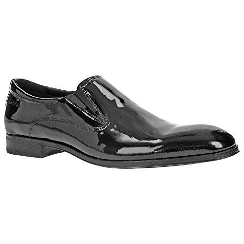 Zweigut® -Hamburg- piekfein #103 Herren Lack Schuhe Hochzeit Leder Slipper Business Smoking, Schuhgröße:42, Farbe:lackschwarz