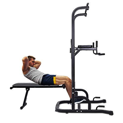 OneTwoFit Multi-Function Power Tower with Sit Up Bench,Adjustable Height Pull Up Tower Heavy Duty Dip Station Fitness Equipment for Home Gym Supports to 330 Lbs(150kg) OT127