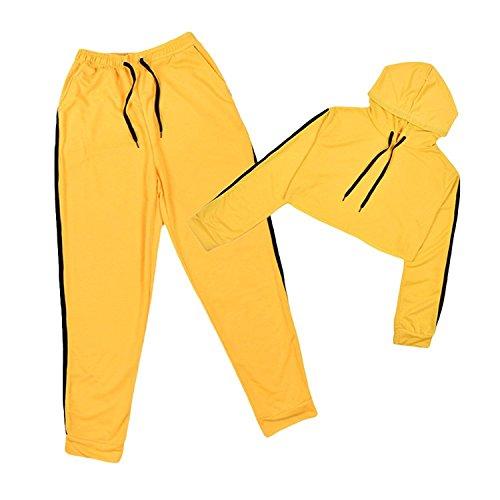 Chandal Conjunto para Mujer Moda Casual Conjuntos Deportivos Manga Larga Crop Sweatshirt Sudadera con Capucha a Rayas + Pantalones 2pcs Plus Size